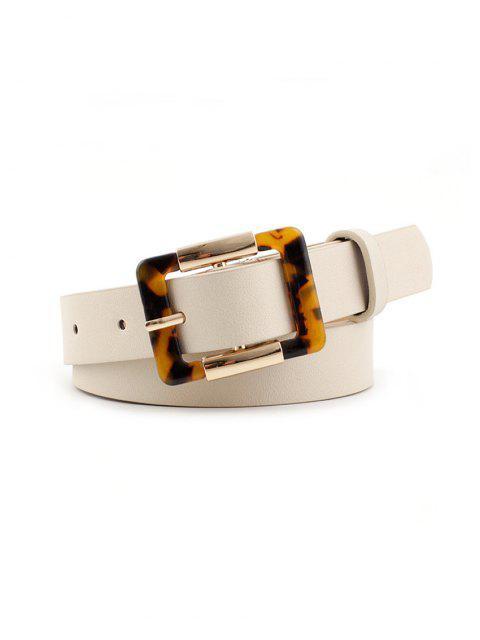 Leopard Quadrat Dornschließe Gürtel - Weiß  Mobile