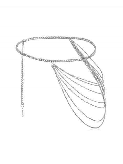 Kurze Mehrschichtige Metall Taille Kette - Silber  Mobile