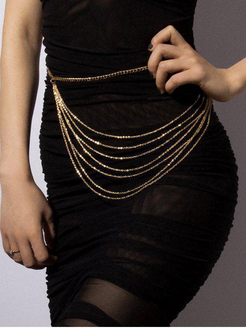 Kurze Mehrschichtige Metall Taille Kette - Gold  Mobile