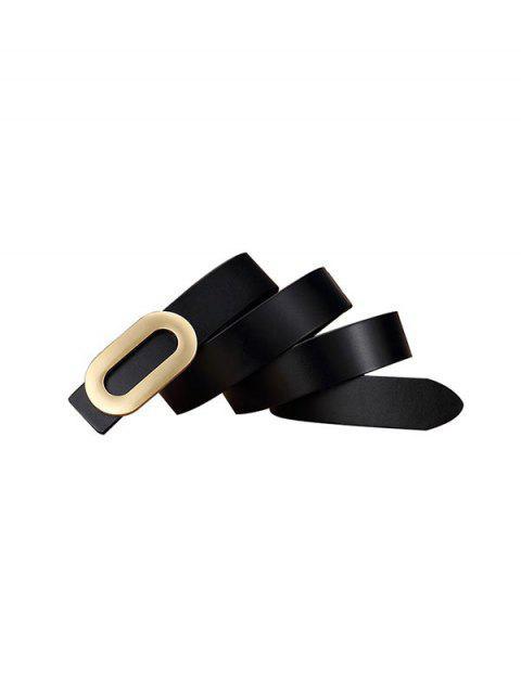 Kurze Ovale Schnalle Shirt Gürtel - Schwarz  Mobile