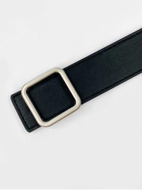 Einfache Quadrat Eimer Ledergürtel - Schwarz  Mobile
