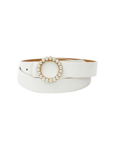 圓形珍珠扣連衣裙腰帶 - 白色  Mobile