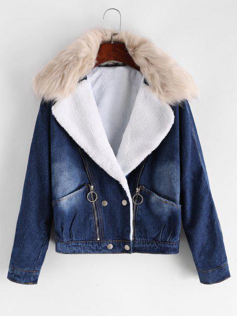 shops Zippered Front Fleece Line Fur Collar Denim Jacket - DENIM BLUE M Mobile