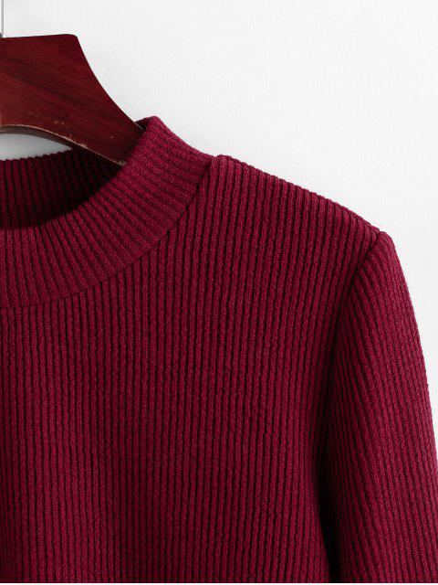 online ZAFUL Ribbed Tie Cuff Flare Sleeve Sweater - RED WINE S Mobile