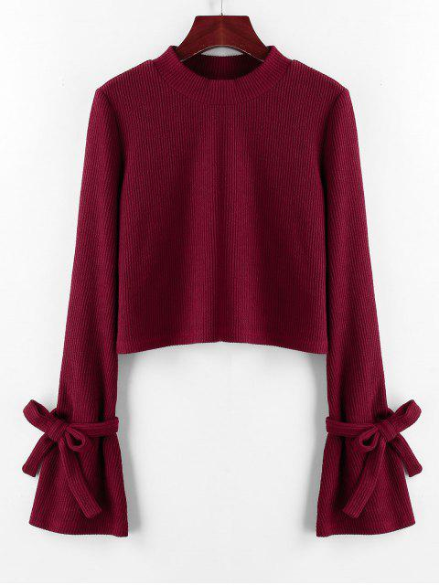 latest ZAFUL Ribbed Tie Cuff Flare Sleeve Sweater - RED WINE L Mobile