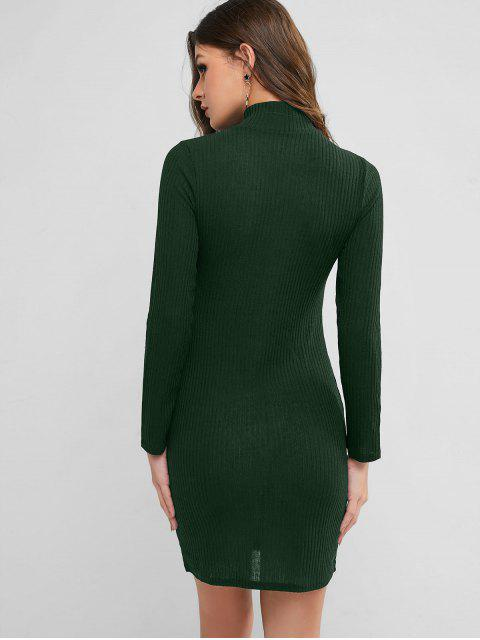 Hoher Kragen Strickfigurbetontes Kleid - Dunkelgrün XL Mobile