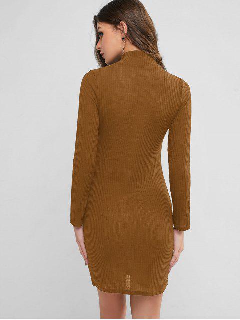 Hoher Kragen Strickfigurbetontes Kleid - Zimt XL Mobile