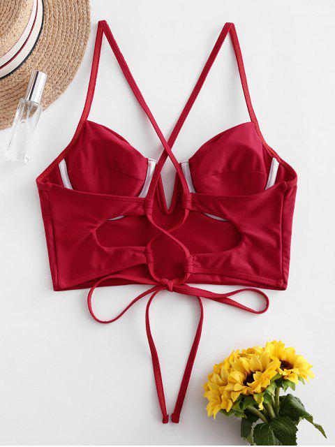 ZAFUL Bikini-Oberteil mit V-Ausschnitt und Gekreuzten Bügeln - Lava Rot XL Mobile