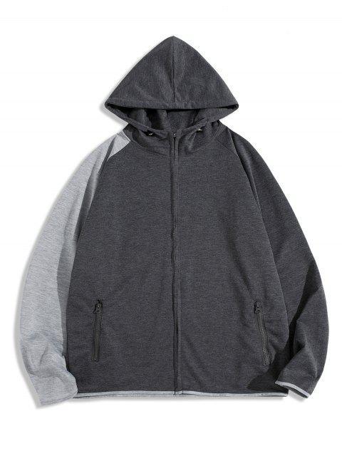 Colorblock拼接插肩袖拉鍊拉上夾克 - 深灰色 2XL Mobile
