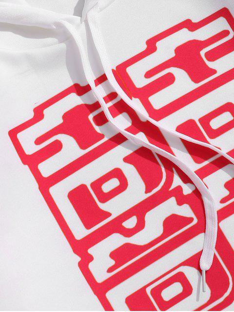 Chinese Buchstabe gedruckten Känguru-Tasche Hoodie - Weiß 3XL Mobile