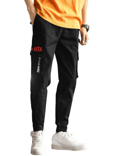 online Graphic Pattern Pocket Decoration Jogger Pants - BLACK L Mobile