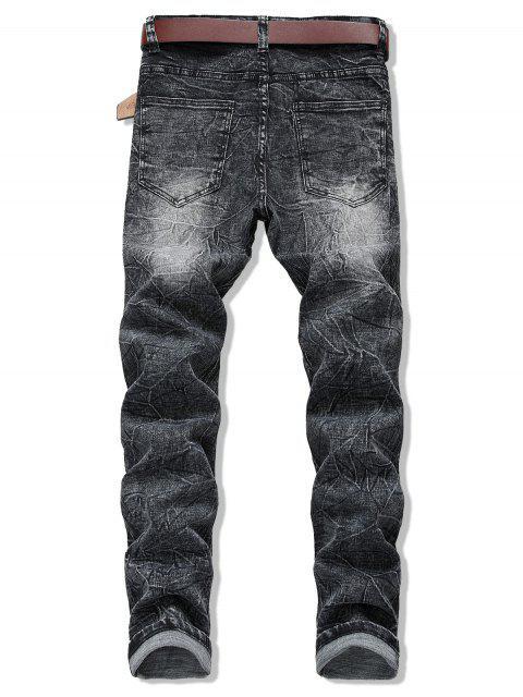 Lange Crease Wash Reißverschluss Jeans - Schwarz 40 Mobile