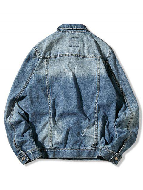 Solid Color Ripped Knopf Jeansjacke - Denim Blau L Mobile