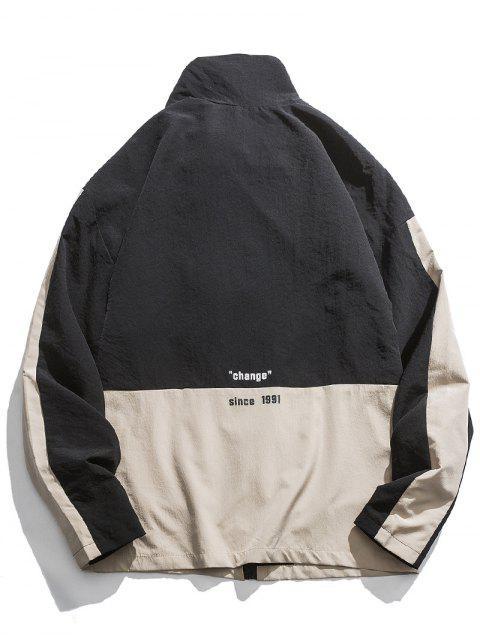 Kontrast Farbe Taschen mit Reißverschluss oben beiläufige Jacke - Schwarz 3XL Mobile