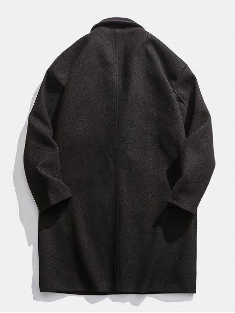 落肩外套延繩釣呢子大衣 - 黑色 M Mobile