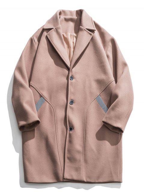 unique Reflective Stripe Trim Drop Shoulder Longline Woolen Coat - CAMEL BROWN M Mobile
