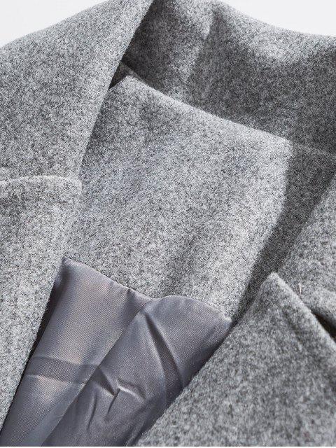 Reflektierende Streifen Trim Tropfen Schulter Lang geschnittener Wollmantel - Hellgrau 2XL Mobile