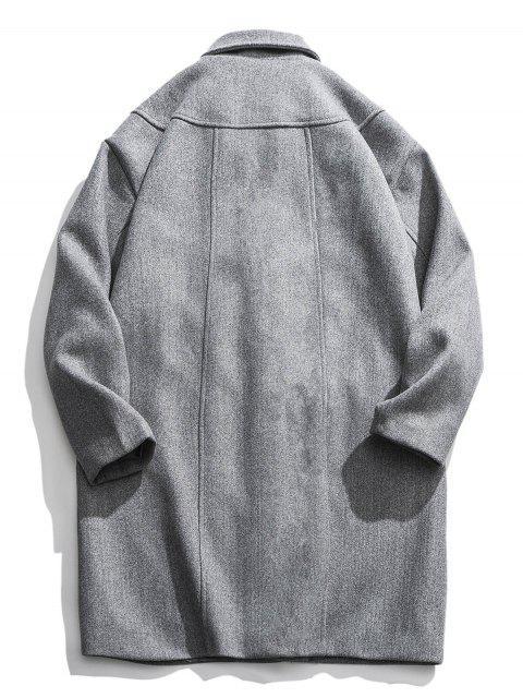 Reflektierende Streifen Trim Tropfen Schulter Lang geschnittener Wollmantel - Hellgrau 3XL Mobile