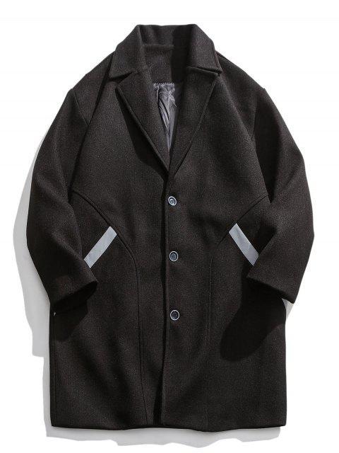 Reflektierende Streifen Trim Tropfen Schulter Lang geschnittener Wollmantel - Schwarz 3XL Mobile