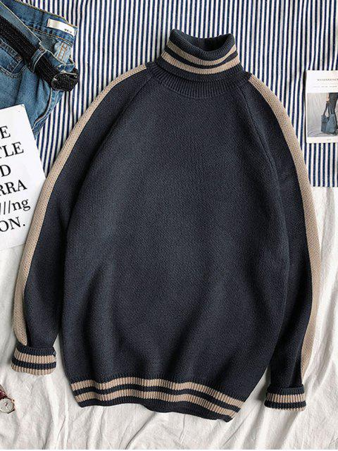 Lässige Gestreifter Muster Pullover - Pechschwarz XL Mobile