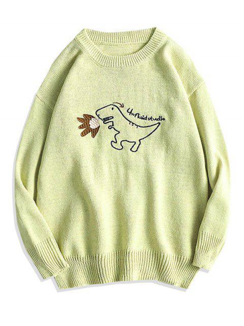 Karikatur Dinosaurier Stickerei Pullover Strickjacke - Gelb Grün M Mobile