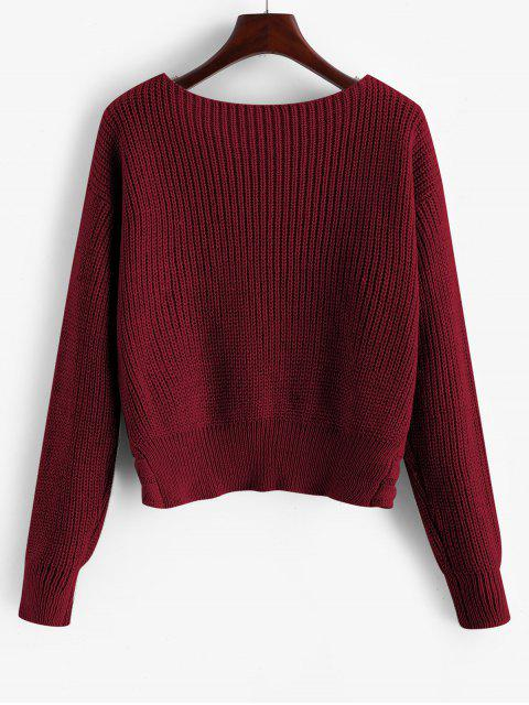 ZAFUL Verdrehtes Zopfmuster Pullover - Roter Wein M Mobile
