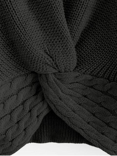 ZAFUL Verdrehtes Zopfmuster Pullover - Schwarz L Mobile