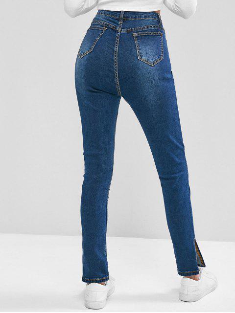 Slit Cuffs mit hoher Taille und Reißverschluss Jeans - Blau XS Mobile