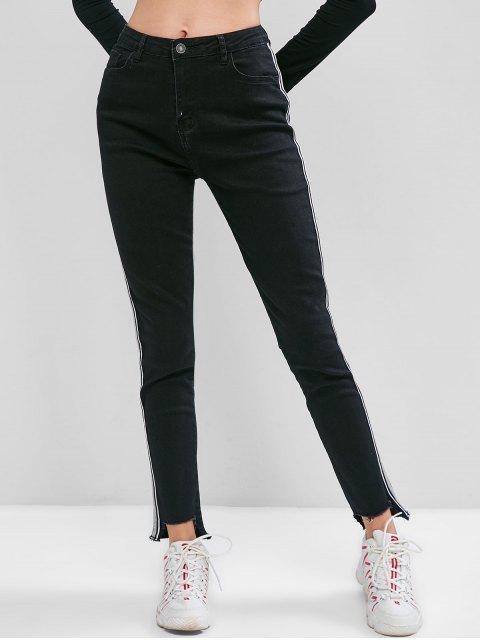 Seite Metallic Thema Striped ausgefranster Hem Jeans - Schwarz XS Mobile