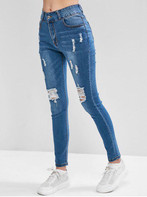 Distressed mit hohen Taille und Taschen Jeans - Blau L Mobile