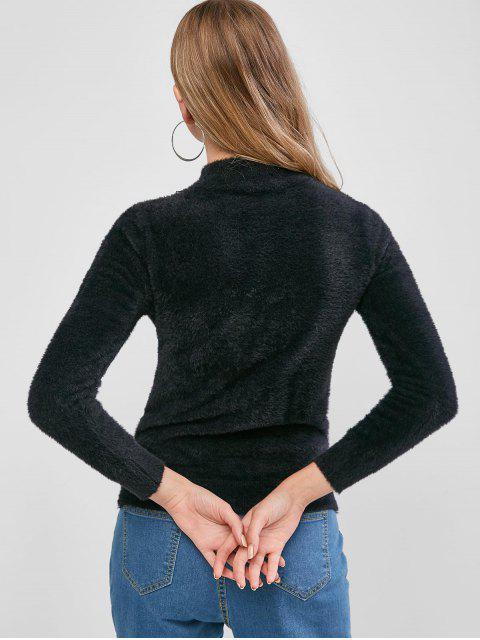 Fuzzy Knit Plain Mock Neck Sweater - Schwarz Eine Größe Mobile