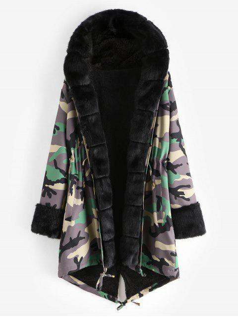 Camouflage Drawstring Hooded Parka Coat - Armeegrün L Mobile