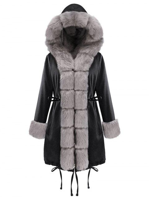 Drawstring Hooded Parka Coat - Schwarz XL  Mobile