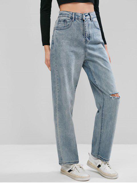 Calça Jeans Rasgados de Mãe - Azul Denim M Mobile