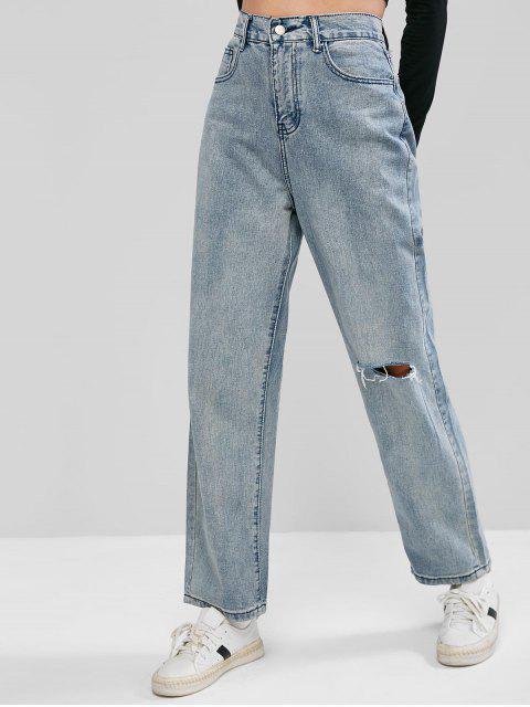 Ripped Mom Jeans - Denim Blau L Mobile