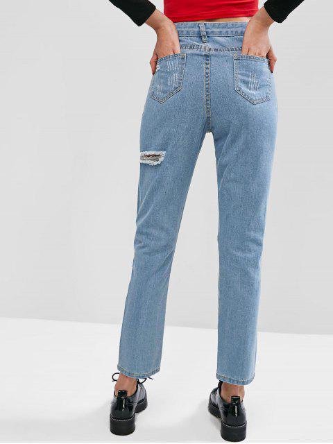 Ripped Grafik heller Waschung Bleistift Boyfriend-Jeans - Himmelblau M Mobile