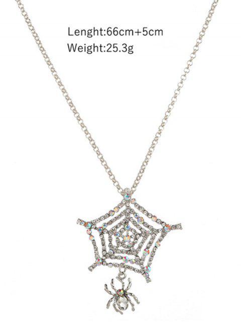 Spinnen-Netz-Strass Anhänger Halskette - Silber  Mobile