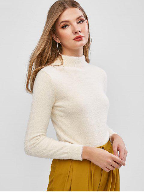 模糊針織純模擬領毛衣 - 暖白色 One Size Mobile
