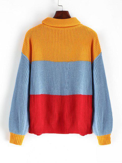 shop Turtleneck Colorblock Stripes Jumper Sweater - MULTI L Mobile
