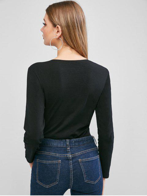 四合扣門襟長袖緊身衣 - 黑色 M Mobile