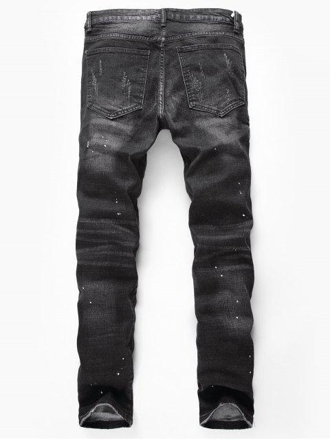 心疼撕開畫點休閒牛仔褲 - 黑色 40 Mobile