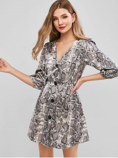 hot ZAFUL Snake Print Button Front Casual Dress - MULTI-A S Mobile