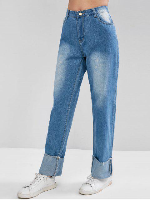 Wide Leg Jeans mit hoher Taille und Bündchen - Blau S Mobile