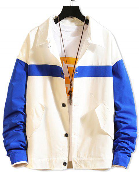 對比信圖文降肩休閒夾克 - 藍色 3XL Mobile