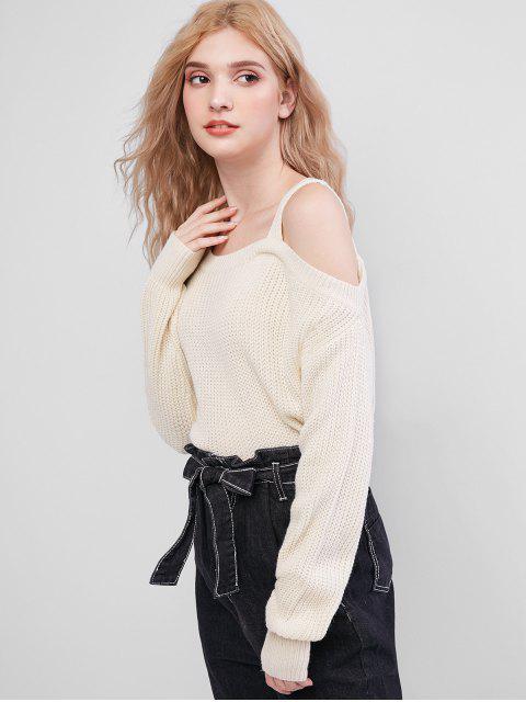 ladies Skew Neck Sweater - BEIGE S Mobile
