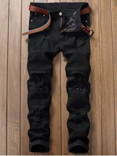 shops Distressed Ripped Pleated Patchwork Jeans - BLACK 34 Mobile