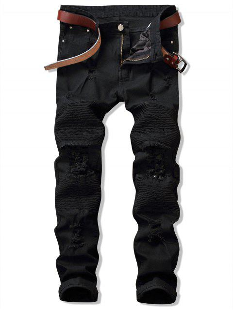 latest Distressed Ripped Pleated Patchwork Jeans - BLACK 36 Mobile
