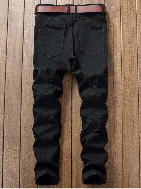 fashion Distressed Ripped Pleated Patchwork Jeans - BLACK 40 Mobile