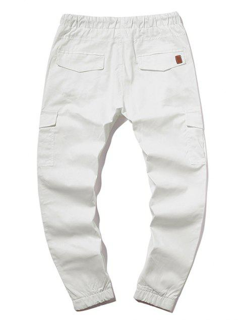 affordable ZAFUL Solid Color Pocket Drawstring Jogger Pants - MILK WHITE XL Mobile