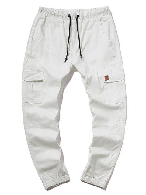 women's ZAFUL Solid Color Pocket Drawstring Jogger Pants - MILK WHITE 3XL Mobile
